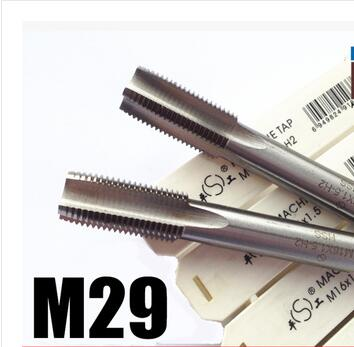 Free shipping of 1PC Metric standard thin pitch M29*2.0mm straight flute HSS 6542 tap for steel metal iron aluminum threading<br>