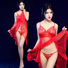 New Women Sexy Lingerie Hot Sets Perspective Erotic Transparent Lace Sex Pajamas Suits Female Underwear Sleepwear Sexy Costumes
