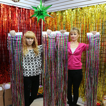 2.5-4M Rainbow color Metallic Foil Fringe Shiny Rain Curtains for Baby Shower Casamento Christmas Party event  1PC/L