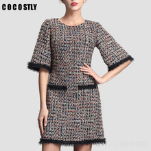 2017 Winter/fall luxury Tweed dress women vintage spun gold tweed dress catwalk plaid bodycon empire dress