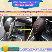 Leather Black Gear Sets Shift collars Knob handbrake Escort Fiesta Taurus S-Max Edge Ecosport Kuga Exploror Mustang M0NDE0 F0CUS