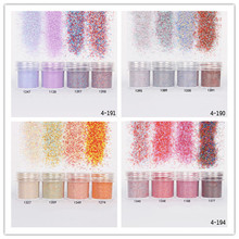 1 Box 10ml Candy Color Nail Glitter Powders Sheets Tips Sparkle Mixed Powder 3D Nail Art Dust Gem Decorations UV Gel Polish Tips