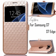 [Long Steven] For Samsung S7 Case Single View Window Lattice Rhombic Texture Leather For Samsung S7 Edge Case Cover Flip Case(China)