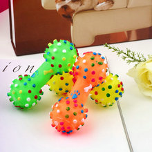 1Pc Pet Dog Cat Puppy Color Sound Polka Dot Squeaky Rubber Dumbbell Chewing Toys(China)