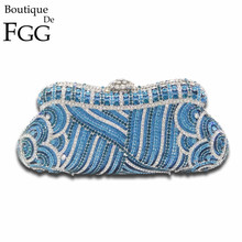 Dazzling Rhinestones Metal Minaudiere Hollow Women Party Handbag Clutches Bridal Blue Crystal Purses Wedding Evening Clutch Bags