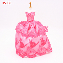 Red Dress Gown For Barbie handmake Doll Lace Clothing Princess Evening wedding Doll Fashion Doll Accessories