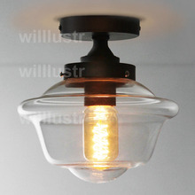 willlustr glass ceiling lamp transparent shade lighting porch foyer PARISIAN ARCHITECTURAL CLEAR GLASS ECOLE  FLUSHMOUNT light