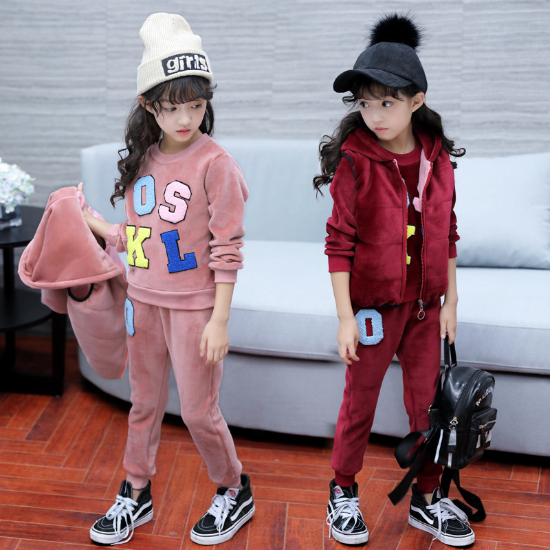 Girls winter new coat three-piece female autumn and winter suit thickened<br>