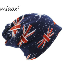 miaoxi New Arrival Fashion Autumn Girls Warm Hat Scarf Women Men Adult Flag Hats 3 Colors Beanies For Girl Gorro(China)