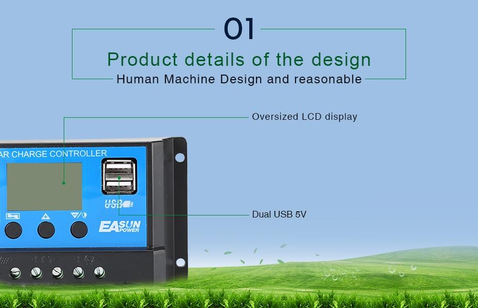 EASUN POWER Solar Controller 12V 24V 30A 20A 10A Solar Regulator PWM Solar Panel Battery Charger LCD Display Dual USB 5V Output DES-6