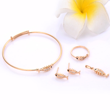 Child Toddler Fish Jewelry Sets Children Baby Gold Jewelry Set Princess Bracelet Rings Black Onyx Crystal Earrings Gold Filled