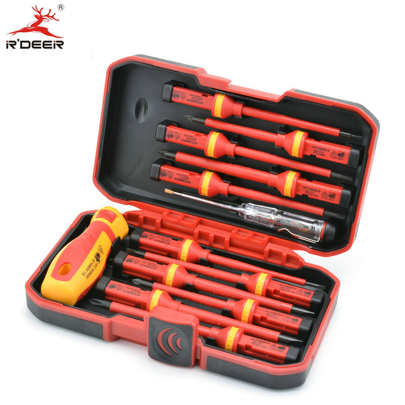 Insulated Screwdriver Set Microtech Phillips Slotted Torx Screwdriver Voltage 1000V Magnetic CR-V Multitul Hand Tools 13pcs<br>