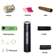 OneTigris Tactical Waterproof Capsule Seal Bottle EDC Container Pill Match Cigarette Case for Camping Hiking Emergency Tool Kit