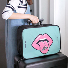 1pc Big Tongue Women Travel Storage Bag High Capacity Clothes Tidy Pouch Luggage Organizer Trolley Case Travel Handbags(China)