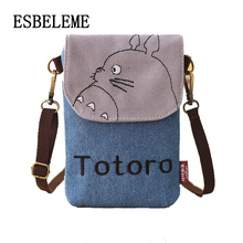 fashion women mini mobile cell phone shoulder bag ladies totoro waterproof girls cartoon canvas crossbody messenger pouch YG055