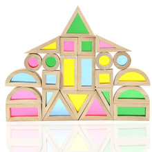 Rainbow Arcylic Wood Blocks Toys Early Childhood Montessori Educational Creative Plaything Inspire Manipulative Ability