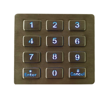 Top mount metal illuminated key button usb backlit keypad,LED backlighted 12 keys 3x4 stainless steel keypad for access system