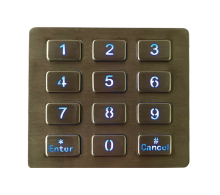 Top mount metal illuminated key button usb backlit keypad,LED backlighted 12 keys 3x4 stainless steel keypad for access system(China)