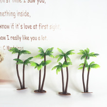 10pcs wholesale Mini Green Scenery Landscape Model Green Coconut Palms Tree in Different Sizes Ornaments