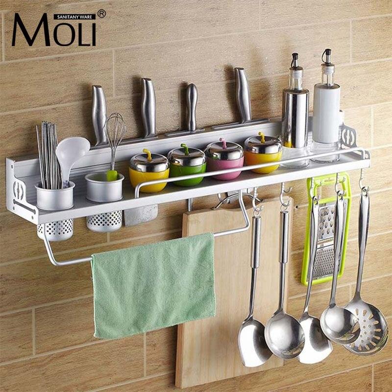Multi-function Kitchen Space Aluminum Wall Mount Bottle Spoon Cutlery Storage Organizer Kitchen Holder  Rack<br>