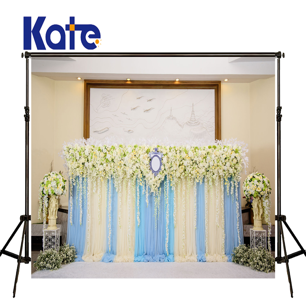 KATE Photography Backdrops Vintage Wedding Backdrop Blue and White Curtain Background Flower Backdrops for Photocall Wedding<br>