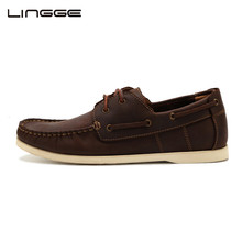 LINGGE Classic 2-eyelet Boat Shoes Full Grain Mens Leather Shoes Flats Men's Boat Shoes Brand Casual Shoes #3832-6(China)