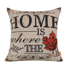 "LINKWELL 18x18"" Retro Home is Where the Love is Red Maple Leaf Canada Monogram Burlap Cushion Cover Throw Pillowcase Shabby Chic"