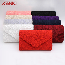 KEENICI Hollow Lace Clutch Bag New Lace Satin Evening Bags High-grade Silk Party Bag Exquisite Day Clutches Crossbody Chain Gift(China)