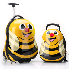 "13""16"" Cartoon Yellow bee Cute Travel Trolley Case Rolling Mini Luggage bags Suitcase with Wheels for Children kids Luggage"