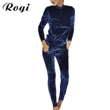 Rogi Velvet Women Sets 2017 Fashion Long Sleeve Bodycon Slim Sweat Suits Hoodies Tracksuit Sweatshirt Two Piece Trousers Women(China)
