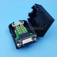 D-SUB DB9 Female 9Pin Black Cover Nut Type Breakout Terminals Board Connector DIY Plugs(China)