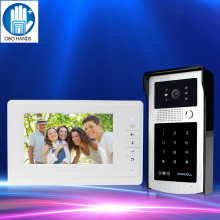 7'' RFID Wired Color Video Doorbell Intercom System with Indoor Video Door Phone+IR COMS RFID Outdoor Camera Password Unlocking(China)