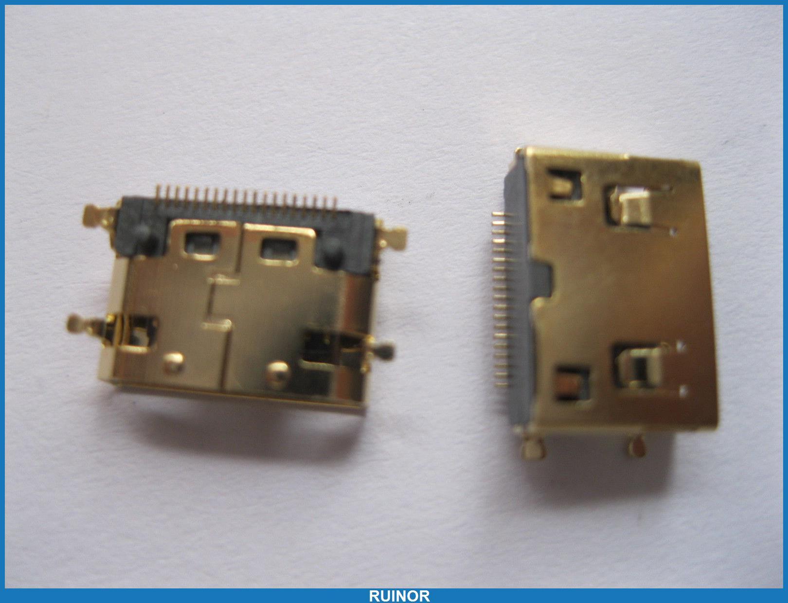 200 Pcs Gold Mini 19pin HDMI Female Connector SMT 180 Degree<br><br>Aliexpress