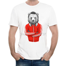 2017 Fashion DJ Bear Coach T Shirt Summer Men/Boy Custom Animal T-Shirt High Quality Novelty Male Fitness Tee Tops Clothing