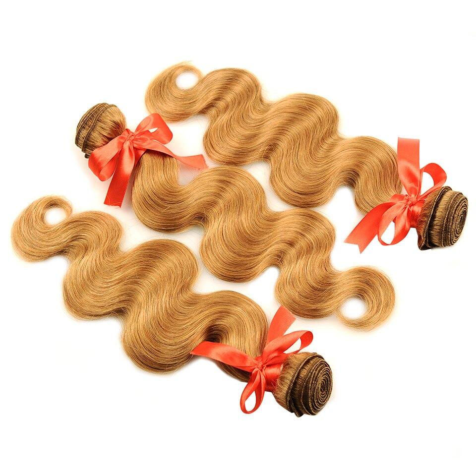 Pinshair 4 PcsPack Body Wave Hair Honey Blonde Brazilian Hair Weave Bundle Deals #27 100% Human Hair Extensions Non Remy Hair  (30)