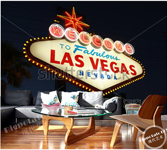 Custom photo wallpaper, Welcome to Fabulous Las Vegas large mural vinyl wallpaper Papel  de parede for the living room TV wall <br>