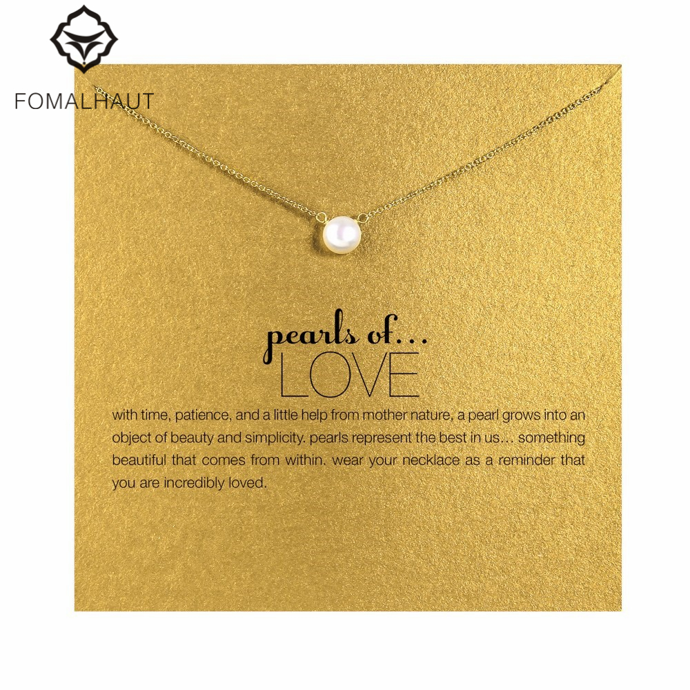 imitation pearl love Pendant Necklaces Clavicle Chains necklace Fashion Chain Necklace Women FOMALHAUT Jewelry