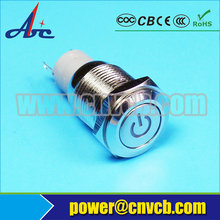 5pcs/Lot IB 1626F Waterproof IP67 16mm Flat round head momentary 12v power symbol lighted switch