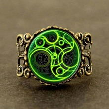 Steampunk doctor who green line time lord 1pcs/lot bronze silver Glass mens Ring jewelry dr who long Ring