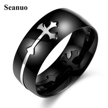 Seanuo 8MM Black Stainless Steel Sideways Cross Ring for men Prayer Jesus Christian Church Separable ring Jewelry male size 7-10