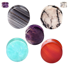 Ear Expander Body Piercing Tunnels Jewelry PAIR-Purple Natural -Organic Flesh Tunnels Stone Ear Plugs Ear Gauges(China)