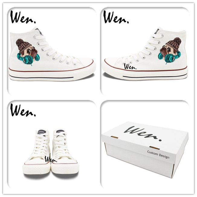 Wen Design Cute Pug Dog with Knitted Hat Earphone Athletic Shoes Black White High Top Women Men Canvas Sneaker for Skateboarding