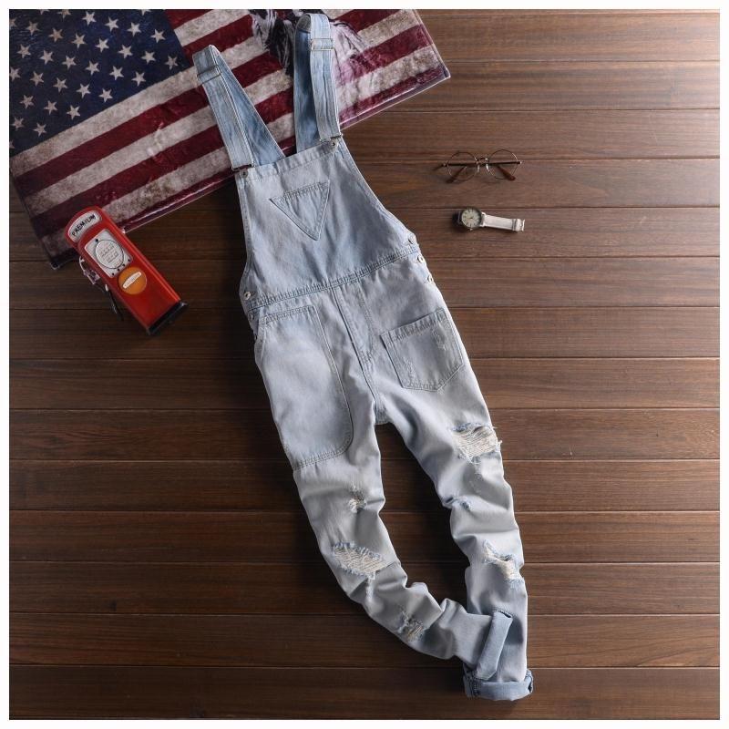 Adult Mens Light Blue Overalls Denim Suspender Pants Men Salopette Jeans New Arrival Slim Straight Jumpsuit 71401Îäåæäà è àêñåññóàðû<br><br>