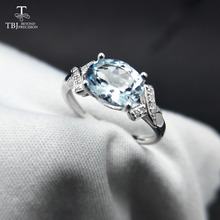 TBJ,100% natural Brazil aquamarine ov6*8 1.3ct gemstone ring in 925 sterling silver precious stone jewelry with gift box(China)