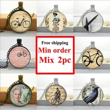 2016 Vintage Bicycle Necklace Keep Calm And Love Dogs Pendant Bike Jewelry Glass Photo Cabochon Necklace HZ1(China)