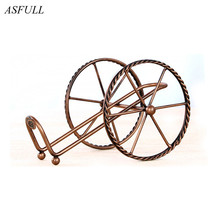ASFULL European style Metal Red wine rack Bronze Iron wheels Design Wine Holder Home Bar Decor Shelf display Beer whisky wine