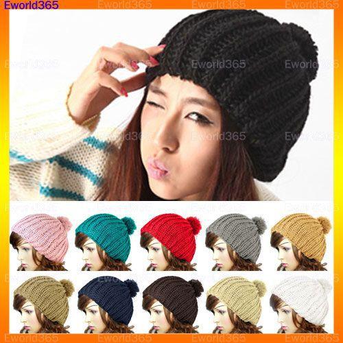 10xWomen Ladies Wool Knit Knitted Beanie Vintage Bobble Winter Cap Pom Pom Hat 10 ColorÎäåæäà è àêñåññóàðû<br><br><br>Aliexpress