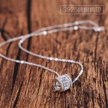 AAA 100% Silver 925 Necklace Cubic Zirconia Women Silver Pendant Necklace Cylinder Zircon Necklace Sterling Silver Jewelry