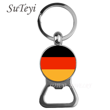 Classic Germany / Russia / France Flag Pendant Beer bottle opener Key Chain Jewelry Women/Men Bag Keychain Round Glass Key Ring(China)
