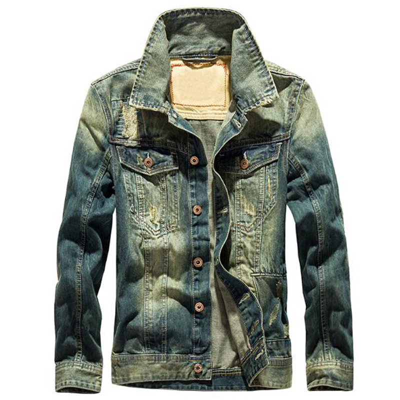 Vintage Style Big And Tall Mens Jeans Jackets For Sale Wholesale 4XL Mens Denim Jacket and Coats Men Bape Branding Clothes C1071(China)